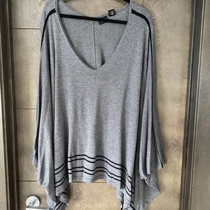 Grey with Black Stripe Lightweight Poncho